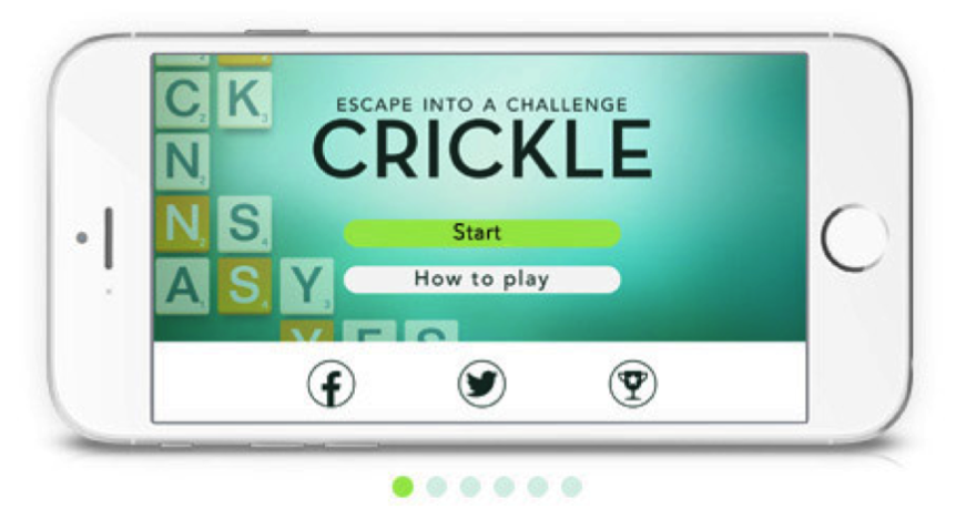Crickle Home Screen on Phone