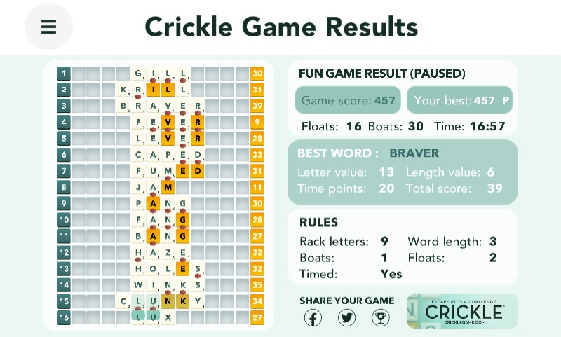 Crickle Wordgame
